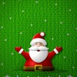 Santa Claus with his hands up on knitted background — Stock Vector #56525999
