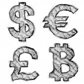 Hand drawn money symbols with hatching — Stock Vector