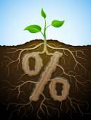 Percent sign like root of plant — Stock Vector