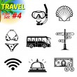 Set of black-and-white travel icons — Stock Vector #67406263