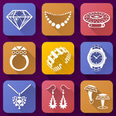 Flat icons set of jewelry elements — Stock Vector