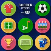 Color flat icon set of soccer elements — Stock Vector