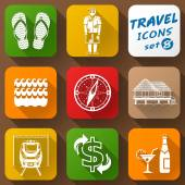 Flat icons set of travel elements — Stock Vector