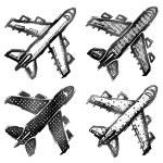 Hand drawn plane symbol, top view — Stock Vector #74346549