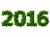 新的一年 2016年的圣诞树枝上白色孤立 — 图库矢量图片