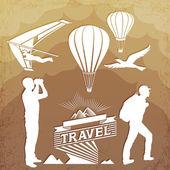 Aktif turizm kontür — Stok Vektör