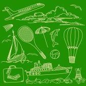 Contornos turísticos dibujados a mano — Vector de stock