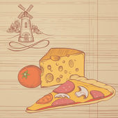 Rustic Illustration of Pizza and Cheese — Wektor stockowy