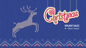 Christmas Banner with Deer — Stock Vector