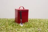 Cuchara y lata roja — Foto de Stock