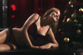Woman in lingerie for Christmas Glamour theme. — Stok fotoğraf