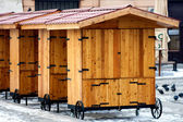 Shopping wooden stalls — Stock Photo