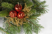 Decorations for Christmas and New Year. Gray background. — Stock fotografie