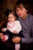 Father with baby daughter on Halloween party  — Foto Stock