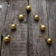 Stylized design Christmas tree with xmas balls on wooden background — Stock Photo #60866377