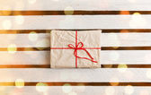 Gift boxes on white wooden background — ストック写真