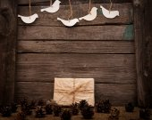 Vintage gift on wooden background  — Stock Photo