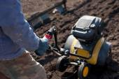 Garden tiller to work — Stock Photo