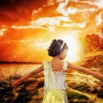 Happy girl dancing enjoying at magical sunrise sunset — Stock Photo #51882747