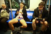 No Pants Subway Ride in Bucharest, Romania — Stock Photo