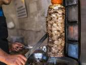 Grilled Doner meat  on vertical spit — Stock Photo