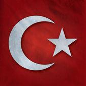 Bunte türkische Flagge winken — Stockfoto