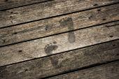 Step forward on dusty floor — Stock Photo
