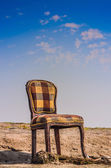 Wooden chair alone on Sand — 图库照片