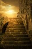 Ancient Upstairs and Sundown — Stock Photo