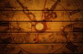 Wall clock on wooden background — Stock Photo