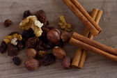 肉桂、 葡萄干和榛子 — 图库照片