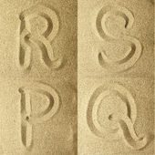 R s t u handwritten in the sand — Stock Photo