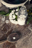 Homeopathic bottles and Pills — Stock Photo