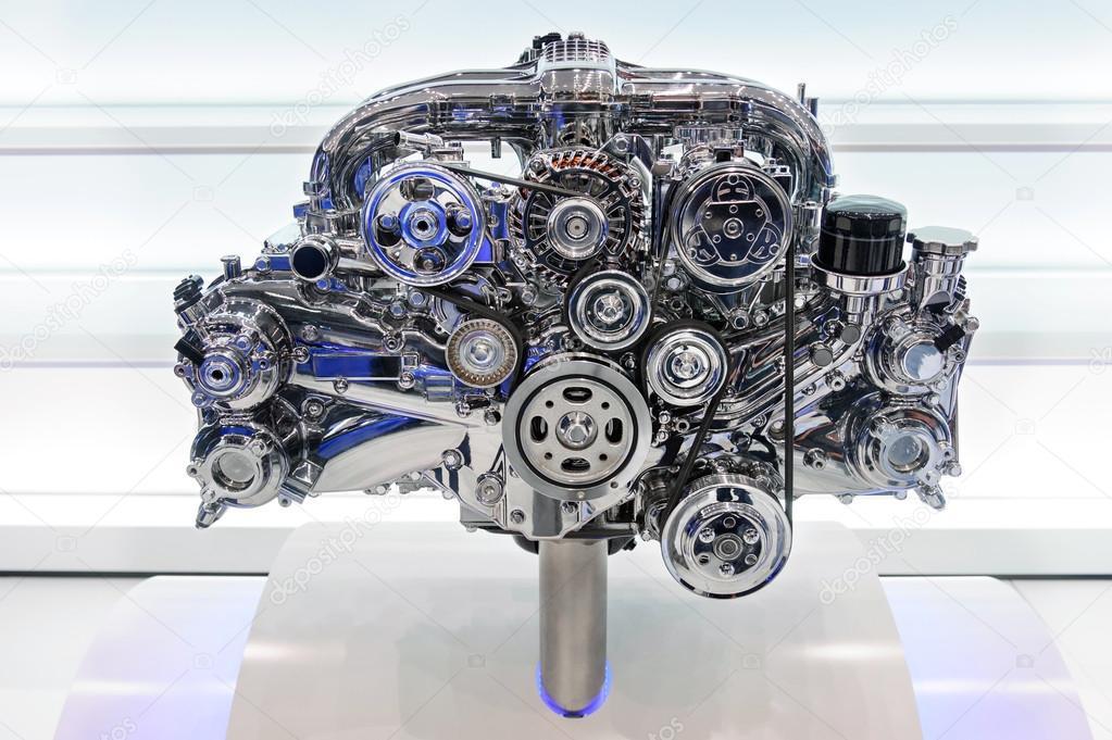 汽车发动机.现代汽车电机在浅色背景上的概念 — 图库照片#59041775