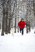 Jogging with dog — Foto de Stock