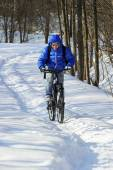 Extreme winter cycling — Stock Photo