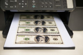 Printer with USD paper currency coming out — Stock Photo