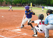 Batter about to hit the ball in a baseball game — Stock Photo