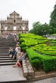 Macau, China - June 25, 2015:Tourists visit the Historic Center — Stock Photo