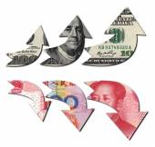 Usd Up Rmb Down, Financial Concept — Stock Photo