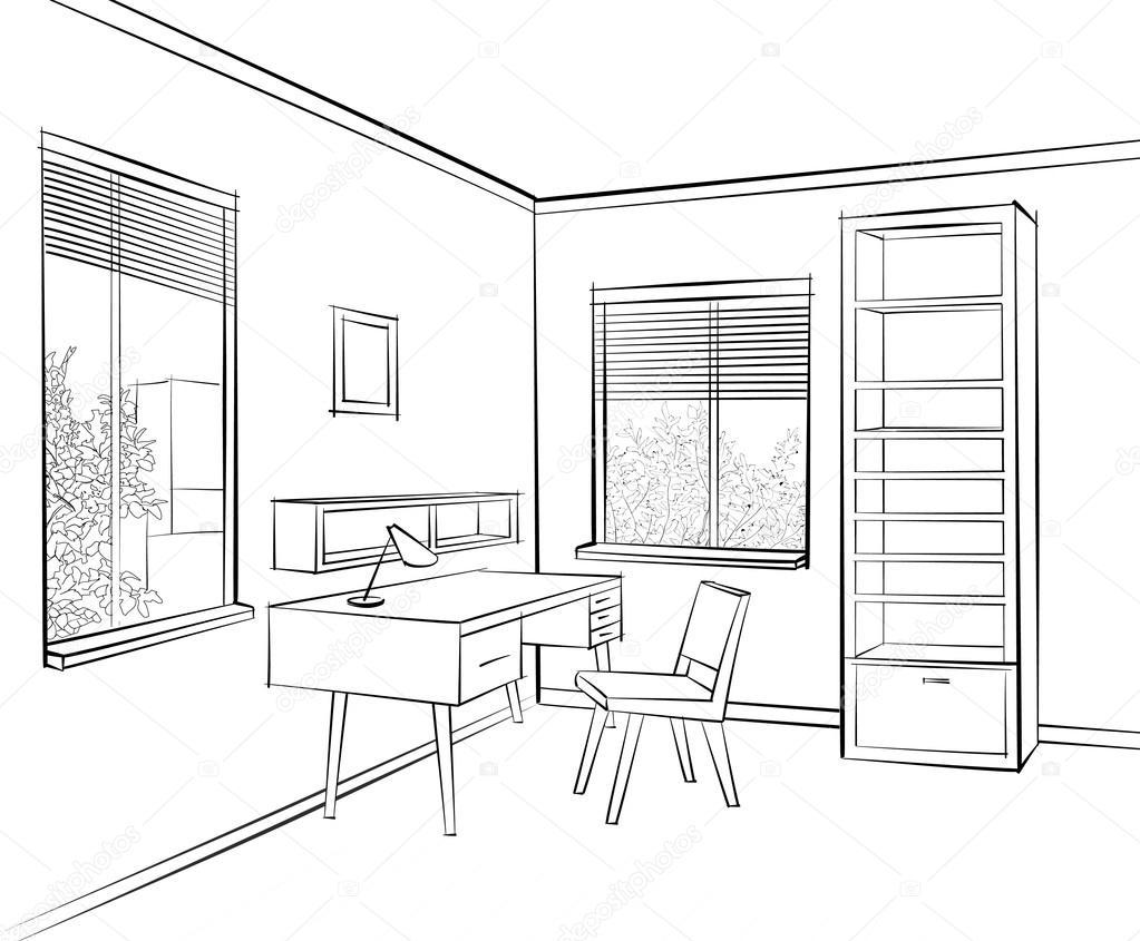 Posto di lavoro a interni casa vettoriali stock for Interieur tekenen