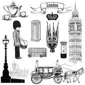 English icon set. London symbols, England — Stock Vector