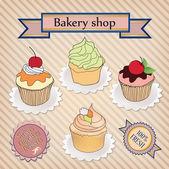 Bakery shop label. Vintage cupcake poster design. — Stock Vector