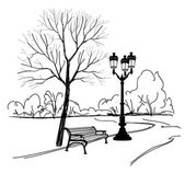 Bench in  park with tree and streetlamp. — Stock Vector