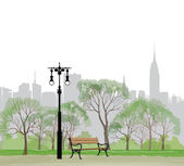 Bench and streetlight in park over city background. — Stock Vector