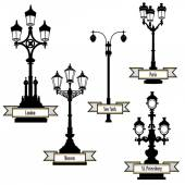 Street lamp label set. Street lights of London, PAris, New-York, Moscow, St Petersburg retro collection — Vecteur