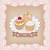 ベーカリー ショップ ラベル。ビンテージ カップケーキ ポスター デザイン. — ストックベクタ