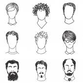 Men with various hair style and beard. Man avatar set. — Stock Vector