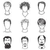 Men with various hair style and beard. Man avatar set. — Stock Vector