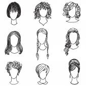 Cute girl faces collection. Women avatars set — Stock Vector